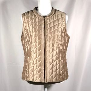 Gold quilted metallic zipper vest with pockets